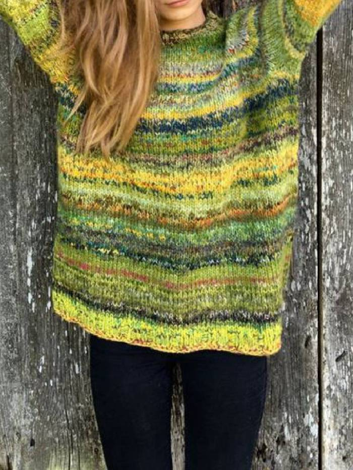 Long Sleeve Shift Color-Block Sweaters