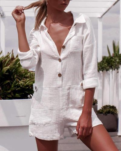 Pocket Button Linen Casual Jumpsuit