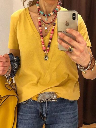Yellow Solid Casual V Neck Short Sleeve Tops