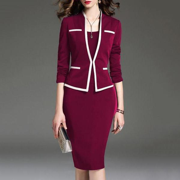 Scoop Neck  Colouring Bodycon Dress   Professional Dress
