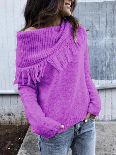 Casual Knitted Solid One Shoulder Sweater