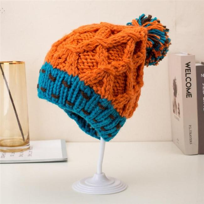 Cute Patchwork Thermal Woolen Hat Knitted Hat