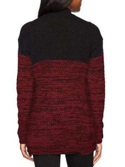 Blue Acrylic Casual Color-block Solid Sweater