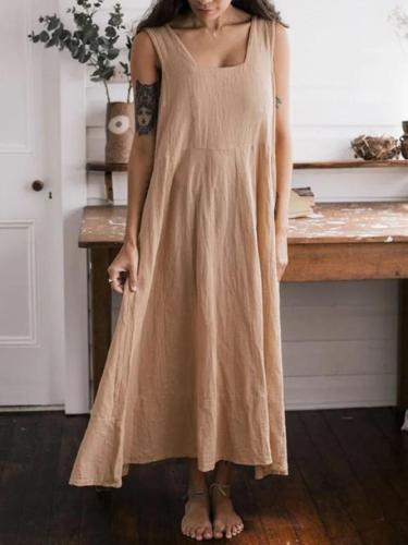 Khaki Sleeveless Big Hem Dress Sexy Dresses