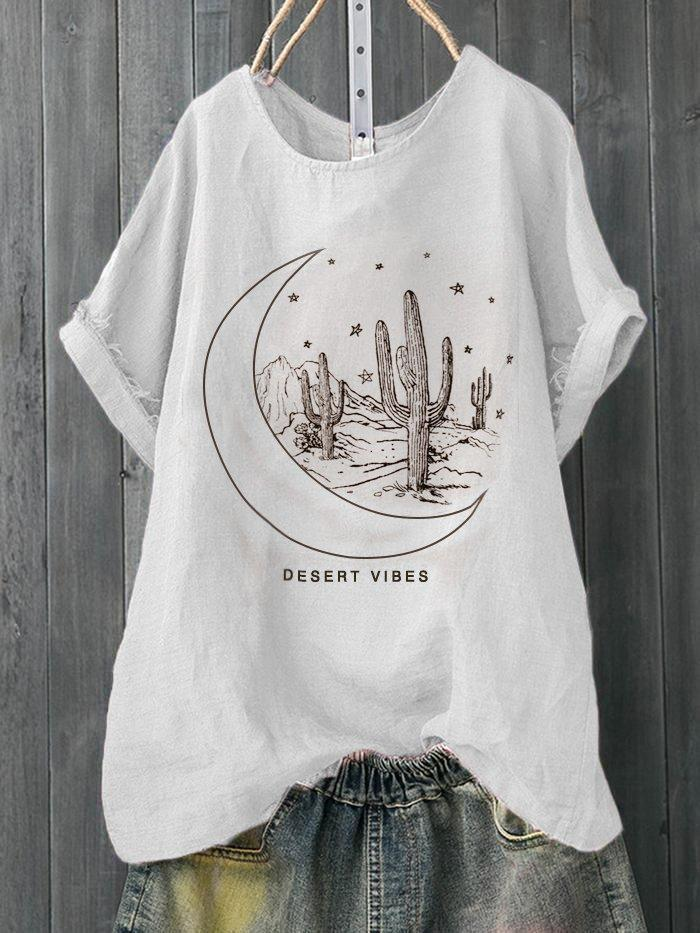 Plus Size Women Short Sleeves Round Neck Graphic Loose Casual Tops
