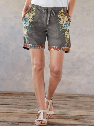 Cotton-Blend Embroidered Casual Pants