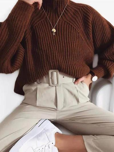 Women's Solid Color Casual Sweater