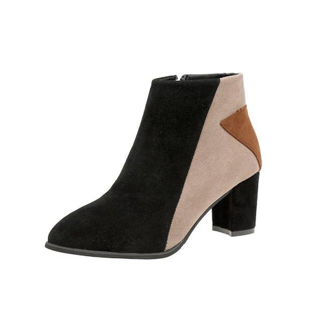 Nude Date Faux Suede Applique High Heel Boot