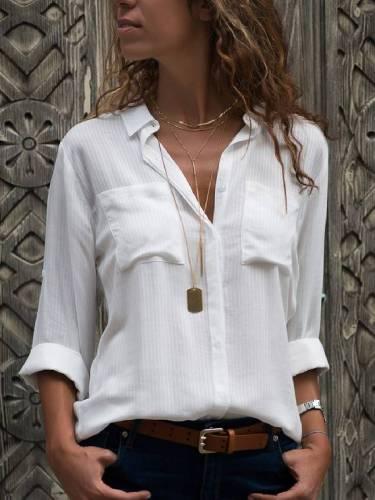 Shirt Collar Cotton-Blend Casual Shirts & Tops