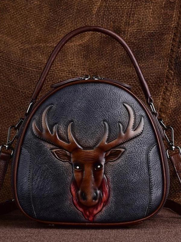 Leather vintage ethnic handbag