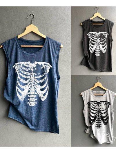 Sleeveless Printed/dyed Round Neck Shirts & Tops