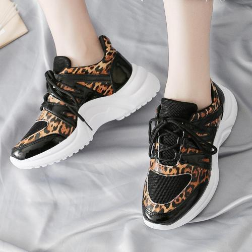 Fashion Women Leopard Printed Flat Heel Sneakers