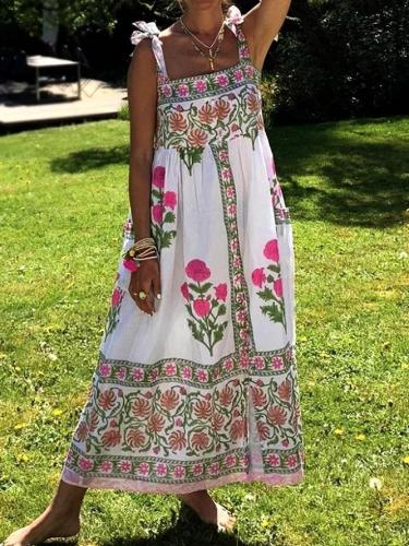 Sleeveless Printed Floral Dresses