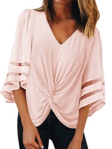 V Neck Short Sleeve Casual Shirts & Tops