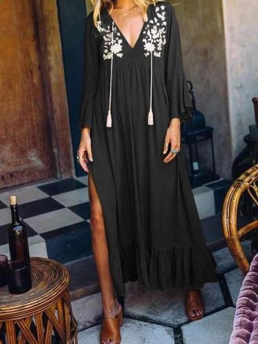 A-Line Floral V Neck Frill Sleeve Dresses