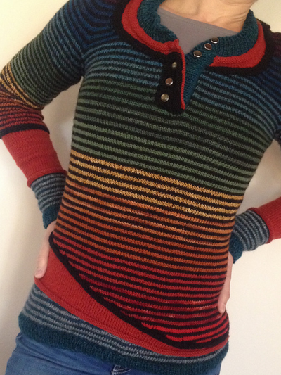 Color-Block Striped Long Sleeve Women's Sweaters