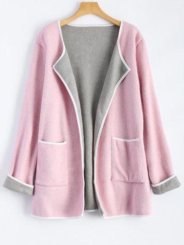 Pockets Shawl Collar Color-Block Sweet Casual Cardigans