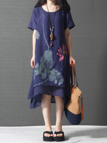 Floral-Print Casual Short Sleeve V Neck Linen Dresses