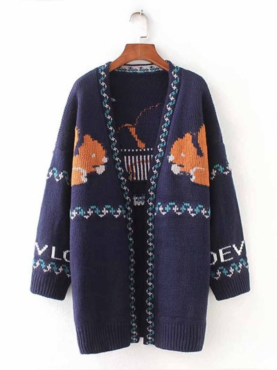 Printed/Dyed Basic Animal Casual Knitted Cardigan