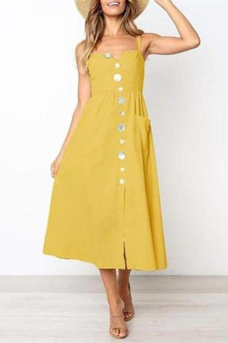 Fashion Off Shoulder Plain Button Embellished Vacation Dress