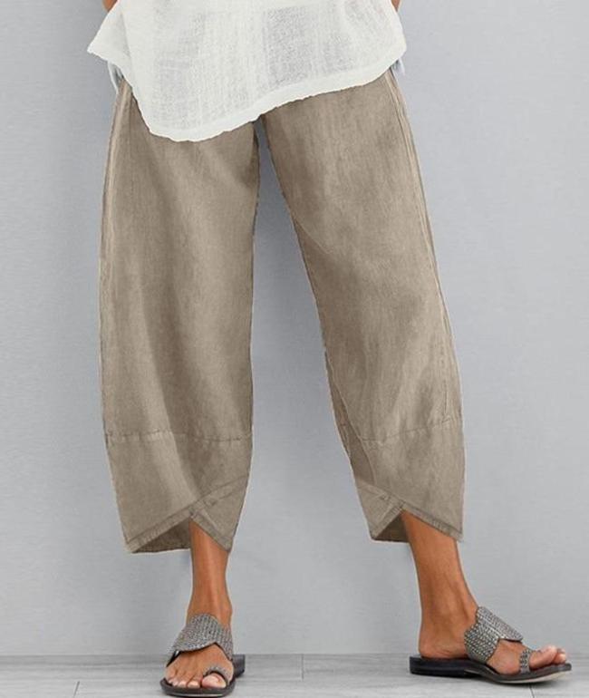 Cropped Pants Linen Pants Women's Autumn Tousers Casual Elastic Waist Asymmetrical Pants