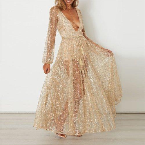 Sexy Deep V Sequined Dress