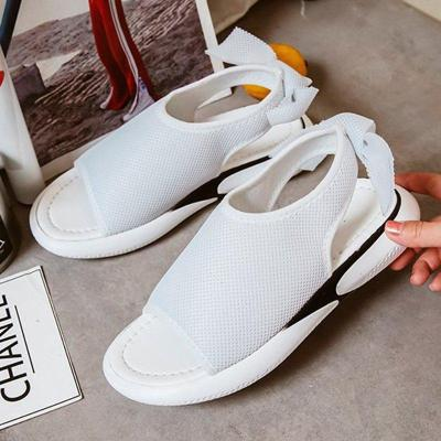 Women Mesh Fabric Sandals Casual Breathable Bowknot Embellished Shoes