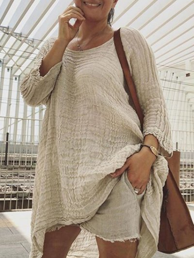 Round Neck Linen Solid Casual Shirts & Tops