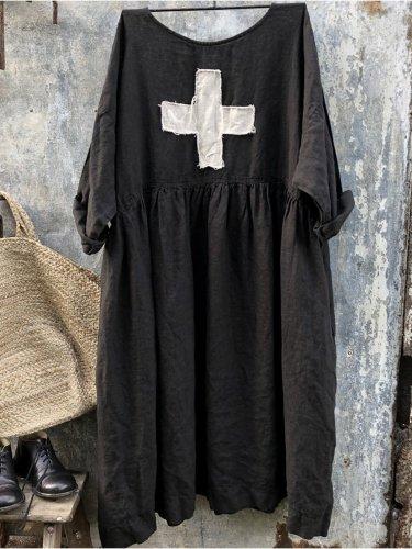 Women Linen Dress With Swiss Cross