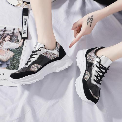Colorful Diamond Colouring Flat Heel Women Sneakers
