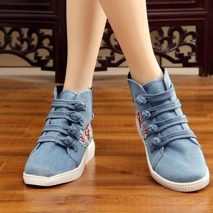 Light Blue Winter Buckle Canvas Flat Heel Embroidery Boots