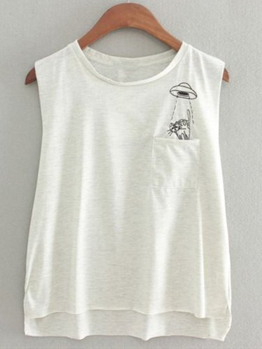 White Crew Neck Casual Sleeveless Abstract Shirts & Tops