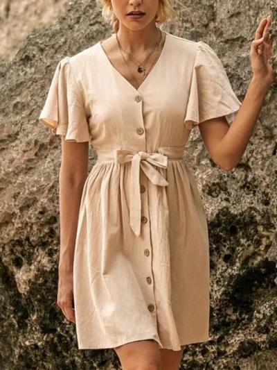 Vintage V Neck A-Line Casual Dresses