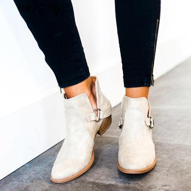 Women PU Booties Casual Comfort New Fashion Thick Shoes