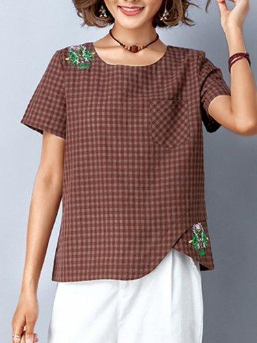 Plus Size Women Short Sleeve Round Neck Vintage Plaid Floral Casual Tops