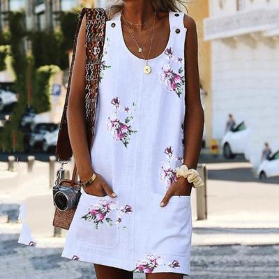 Printed Casual Loose Round Collar Waistcoat Skirt