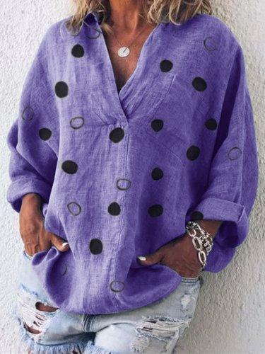 Long Sleeve V Neck Cotton-Blend Patchwork Shirts & Tops