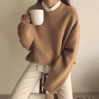 Casual Women Round Neck Long Sleeve Plain Sweater