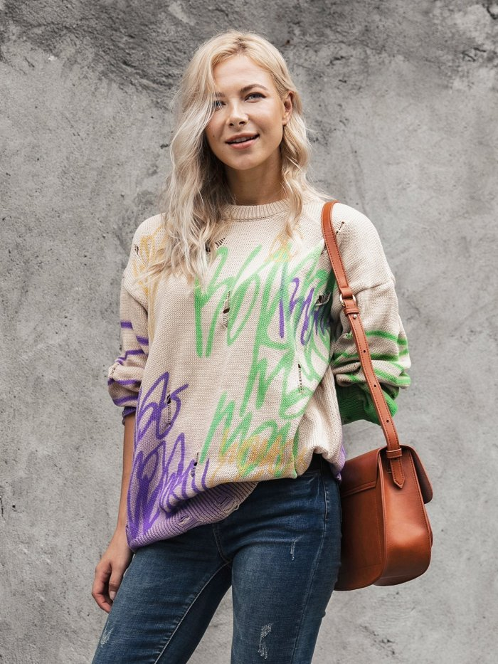 Long Sleeve Shift Color-Block Crew Neck Sweater