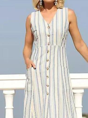 White Sleeveless Striped V Neck Dresses
