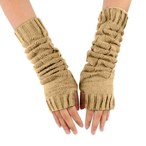 Women Winter Striped Wrist Arm Hand Warmer Knitted Long Fingerless Gloves Mitten