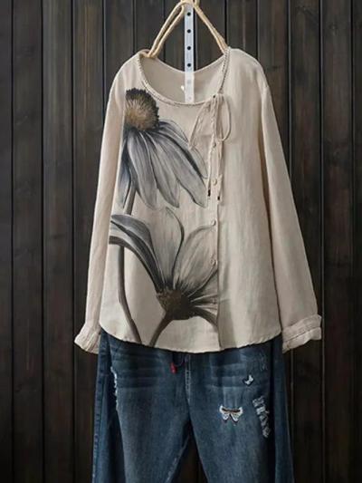 Khaki Vintage Cotton-Blend Shirts & Tops
