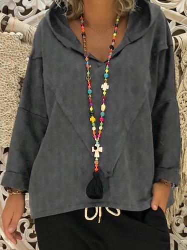 Long Sleeve Cotton-Blend Sweatshirts & Hoodies