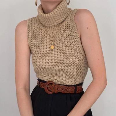 Women's High Neck Sleeveless Knit Sweater Vest