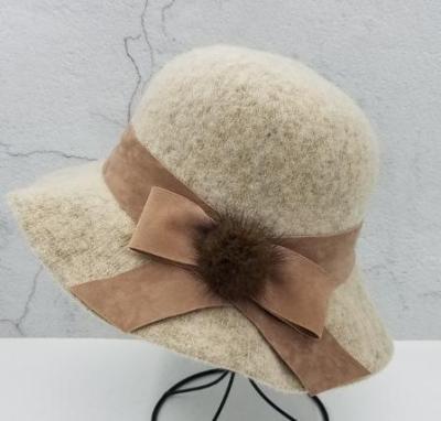 Bow fur ball solid color felt hat fisherman hat