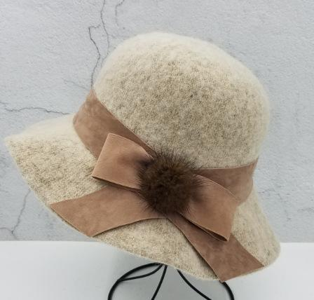 Bow fur ball solid color felt hat fisherman hat