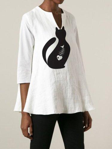 Cat Cartoon 3/4 Sleeve V Neck Casual Shirts & Tops