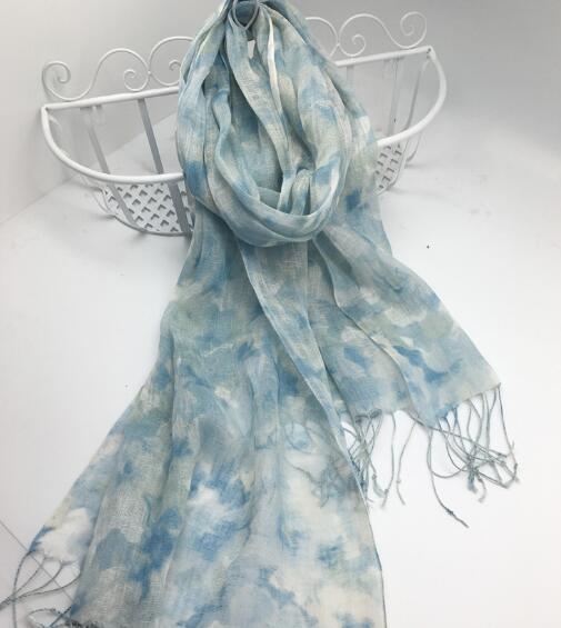100% Linen Vintage Summer Woman Printed Scarf Hijab Foulard Shawls 2020 Summer Scarves Women