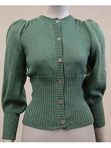Women Buttoned Stretchy Sweet Knitted Tops