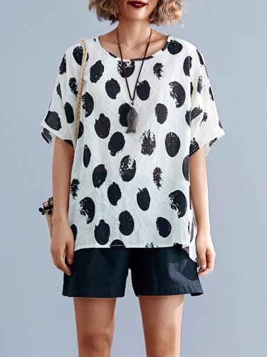 Plus Size Women Short Sleeve Round Neck Vintage Polka Dots Floral Casual Tops